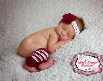 leg warmer set - crochet newborn set - red and white - crochet set - photo prop - baby leg warmers - leg warmer and headband set
