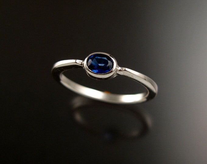 Kyanite Natural Kyanite 4x5mm oval stone ring 14k white Gold Sapphire substitute ring Made to order in your size Stackable Mothers ring