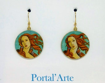 hand-painted earrings Botticelli the Venus