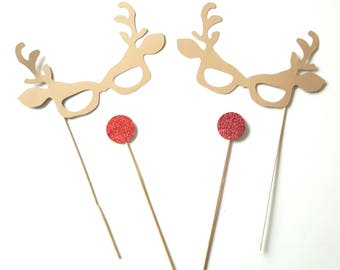 Christmas: Set of 4 Accessories Photobooth Christmas - Reindeer nose red-child model