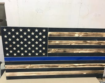 Large Thin Blue Line American Flag