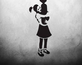 CraftStar Banksy Bomb Hugger Girl Wall Stencil - Urban Graffiti Art Template