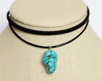 Simple Choker Necklace- Black/Turquoise