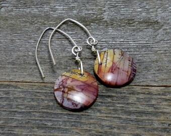 Red Creek Jasper Dangle Earrings, Round Earrings, Boho Earrings