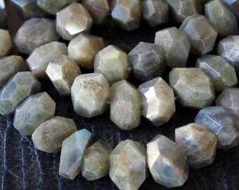 Natural Labradorite Gemstone Irregular Nugget Faceted Beads, Full Strand G01150