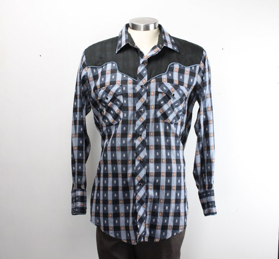 Vintage Men's Shirt - Kenny Rogers - Western Collection - Karman - Black / Blue GingHam - Checkered - 1970's - 16.5 - 34 - Large - XL Tails