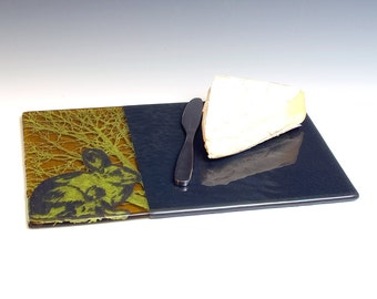 Rabbits Fused Glass Cheese Platter, Bunny, Nature, Cute