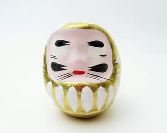 Lucky Daruma(Gold).Paper mashe.Small daruma doll.57mm.Hariko.#dr51.msjapan.Japanese folk toy.Recommended for gifts.