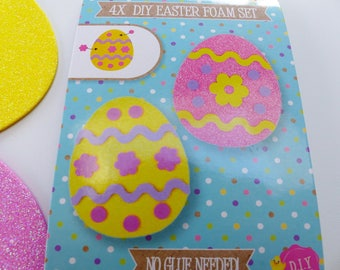 set of 4 Easter egg foam glitter to make and decorate without glue kids creation making decoration eggs