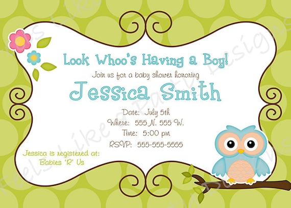 Items similar to custom blue owl boy baby shower invitation on etsy filmwisefo Image collections