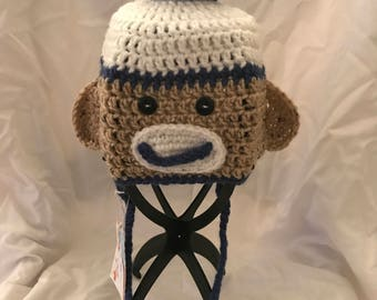 Sock Monkey Hat Blue