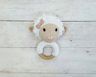 Lamb Rattle - Baby Rattle - Crochet Rattle - 5 inches - Cotton - Wood - Lamb Rattle Toy - Teething Toy - Crochet Rattle Toy - Crochet Lamb