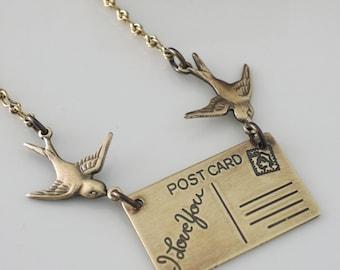Vintage Necklace - Love Letter Necklace - Bird Necklace - Brass Necklace - Bird Necklace - handmade jewelry