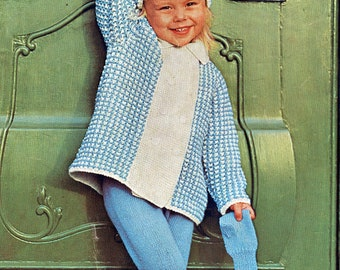 Toddler Knitting Pattern Snow Set Coat Hat Mittens Leggings Size 2 Chest 21 Inches Instant Download Digital 60's e-Pattern Download