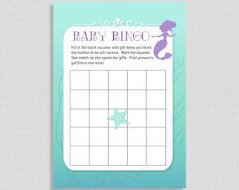 Baby Bingo Shower Game, Mermaid Bingo Game, Baby Girl, Aqua and Purple, DIY Printable, INSTANT DOWNLOAD