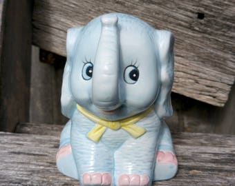 Vintage Blue Ceramic Elephant Figurine * Blue Elephant statuette * Baby Planter * Nursery Gift New Born Baby