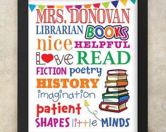 LIBRARIAN GIFT, Personalized Librarian Gift, Teacher Appreciation, End of the Year Teacher, Personalized with Name 8x10 Digital Print