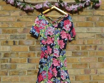 Dark Floral Playsuit with Crossback