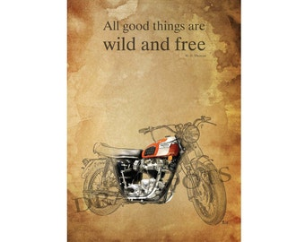 "TRIUMPH MOTORCYCLE quote - ""All good things are wild and free."" H.D. Thoreau - 11.5x16 inches"
