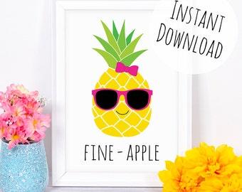 Pineapple Print, Fun Summer Wall Art, Fine - Apple Pun, Tropical Printable Card