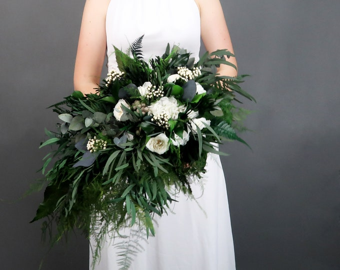Woodland boho wedding cascading bridal bouquet in green and white