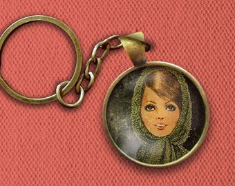 1960s Woman With Head Scarf Pin, Magnet, Keychain, or Necklace
