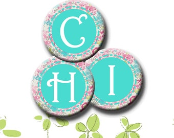 FLORAL ALPHABET - Digital Collage Sheet - 1.837 inch round images for 1.5 inch buttons.  Instant Download #231.