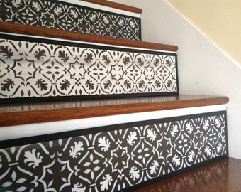 Alternative To Stair Decals, Stair Stickers And Stair Riser Decals / Stenciled  Stair Riser / Moroccan / Dark Chocolate / Damask / Item 096