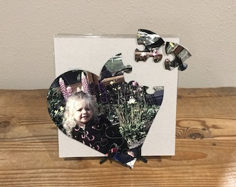 """6.5"""" x 7"""" Heart Hardboard Puzzle with Personalized Photo"""