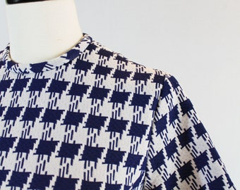 PRICE REDUCED! Vintage Navy Blue and White Herringbone Dress with Jacket