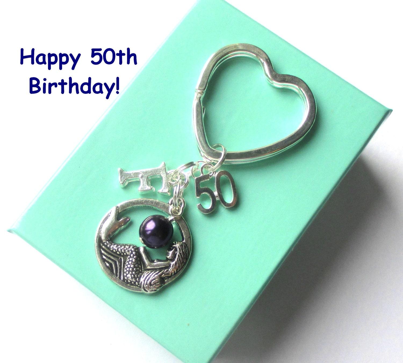Personalised 50th Birthday Gift Mermaid Keychain 50th Gift