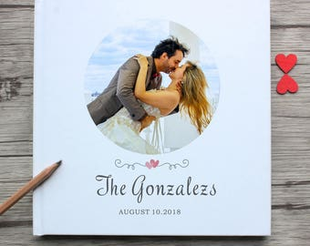 I love you foreve white wedding guest book,custom anniversary gift guestbook,personalized couple photo white wedding guest book alternative