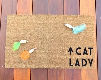 Cat Lady Door Mat (doormat) - Cat Decor, Cat Owners, Cat Lover, Kitten, Cat, Pet Gift, Funny Doormat