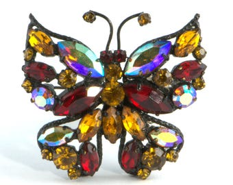 Vintage Butterfly Brooch, Large Butterfly Pin, Red and Gold Rhinestone Butterfly, Japanned Backing