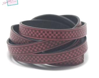 "1 m cord strap split leather 10 x 2 mm ""chessboard"", dark pink"