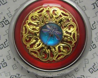 Dragonfly Compact Mirror On Red Protective Pouch Included