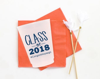 Graduation Party Cups Class of 2018 Personalized Plastic Cups Graduation Party Decorations 2018 High School Graduation College Grad Party