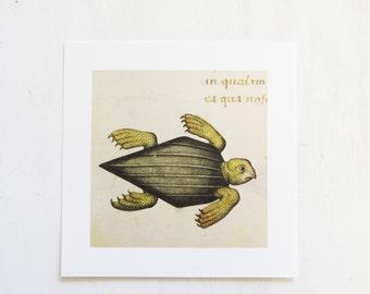 Medieval Turtle Print - 8 x 8  Turtle Pietro Decembrio Vatican Library Collection Art Iris Print 8 x 8 New Old Stock