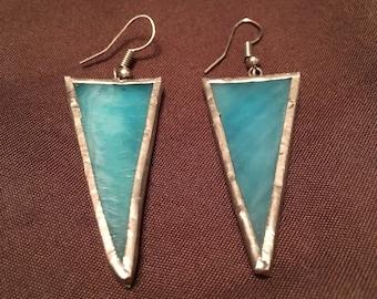 Light blue triangle glass earrings