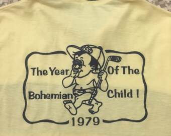 1979 The Year of The Bohemian Giant vintage striped polo collar shirt