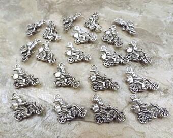 20 Pewter Motorcycle Santa Charms- 5260