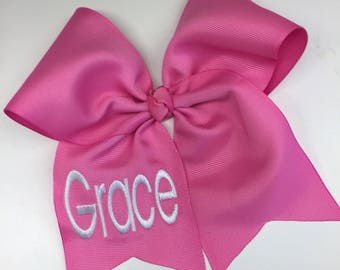 Any Name, Monogrammed Bow, Hot Pink, Embroidered Monogram, Hair Bows, Large Awareness, Personalized Gift, Boutique Custom, Customized Kids