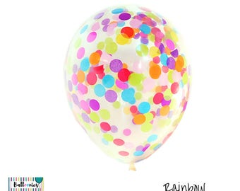 Confetti Balloons Rainbow, 3 sizes to choose from, 30cm, 43cm or Jumbo 90cm