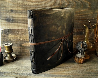 Antique photo album scrapbook 4x6- Faux leather black picture book- Handcrafted rustic memory book- Elegant anniversary gift for him & her