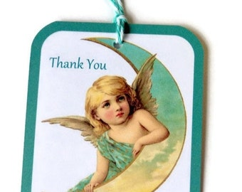 ON SALE 8 Gift Tags, Angel Leaning On the Moon, Vintage Digital, Yellow Green White, Party Favor Tags, Merchandise Tags, Takuniquedesigns, n