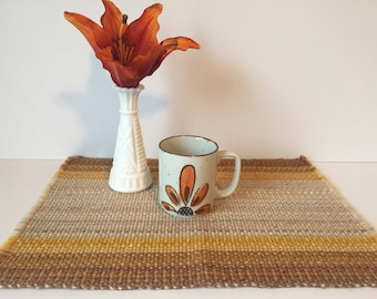 Vintage Woven Placemats, Vintage Table, Brown & Yellow Place Settings, Mid Century Table, 1960's Woven Table Mats with Fringe, Set of Four