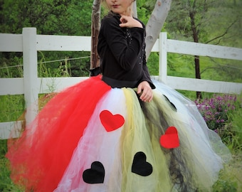 Queen Of Hearts tutu skirt, costume for adults and girls, tie on tutu skirt, Halloween costume for women, costume for girls, adult tutu