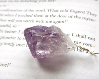 Chunky Huge Raw Amethyst Point Pendant Argentium Sterling Silver / February Birthstone Jewelry Statement Pocket Talisman, Rockhound Gift