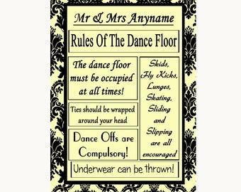 Yellow Damask Rules Of The Dancefloor Personalised Wedding Sign