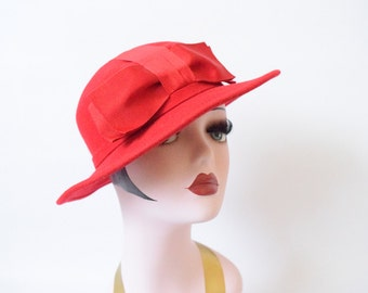 1960's Red Wool Hat with Red Grosgrain Ribbon Bow
